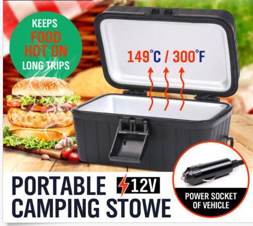 Encendedor de cigarrillos portátil de aluminio + PP 12V con diseño de tapa profunda con asa de transporte conveniente para alimentos de viaje largo