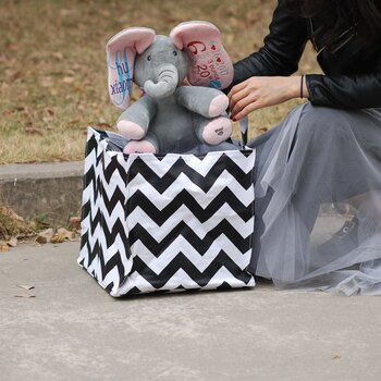 50pcs Lot Square Storage Tote Black Chevron Organizer Purse Toy Container with Handles DOMIL082