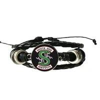 jughead leather bracelet riverdale pendant mystery glass dome photo bracelet black craft jewelry