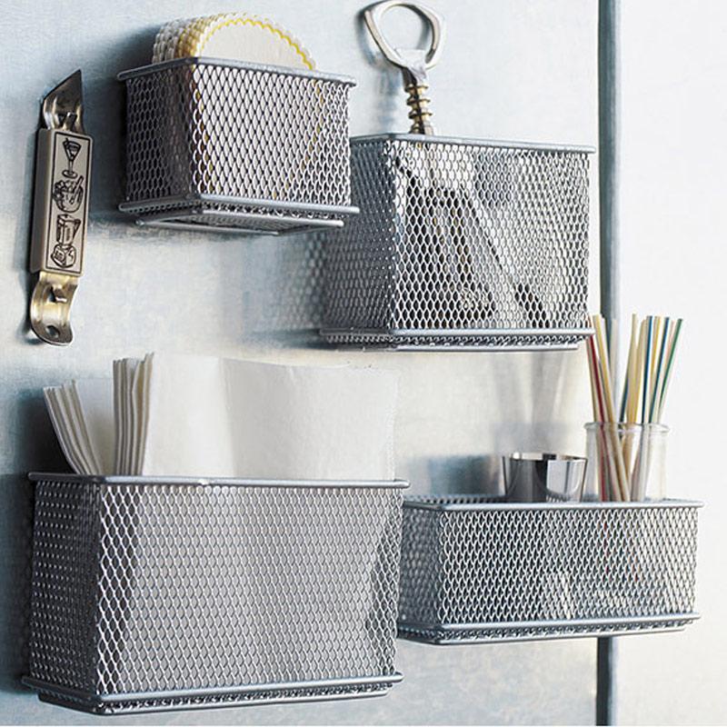 Metal Wire Mesh Magnetic Storage Basket Tray Desk Caddy Storage Organizer WXV Sale