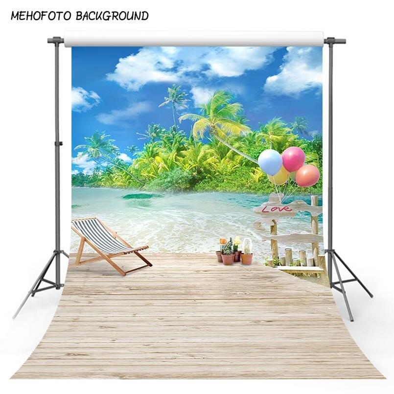 MEHOFOTO vacaciones de verano mar playa nubes azules del cielo flor telón de fondo foto Floral naturaleza Photobooth foto Prop Photocall fondo