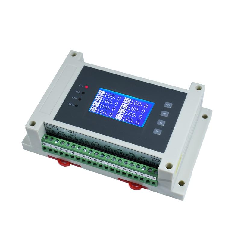 RS485 التناظرية من 8/16 PT100 متعددة القنوات معزولة K-نوع الحرارية الحرارية المقاومة درجة الحرارة جامع