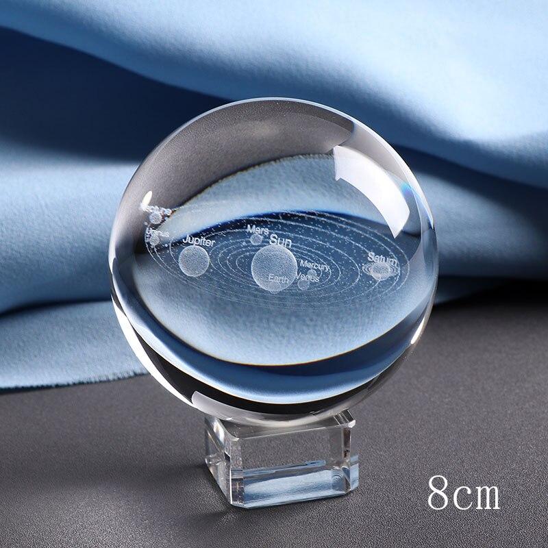 Deli 1PCS 8CM Glass Globe Ornament Home Decor Gift Laser Engraved Solar System Ball 3D Miniature Planets Model Sphere