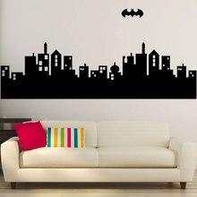 GOTHAM ville horizon Batman décalcomanie amovible vinyle autocollant mural maison autocollant Art déco, garçon chambre décor CJY32