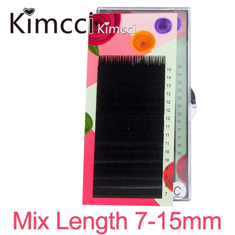 Kimcci-extensiones de pestañas, 16 filas 7-15mm mezcla de longitud extensión de pestañas postizas 3D volumen ruso pestañas individuales maquillaje de pestañas cilios