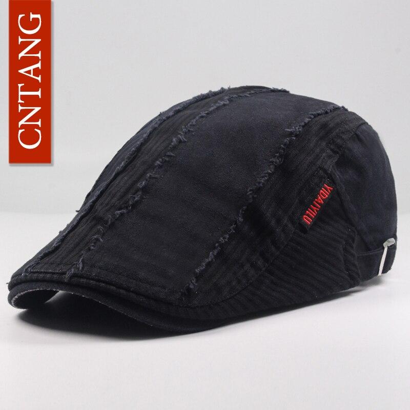 CNTANG boina Retro para hombres, sombrero plano de moda de verano, gorras con visera casuales, diseñador de marca Retro para hombres, tapa de botón de algodón ajustable