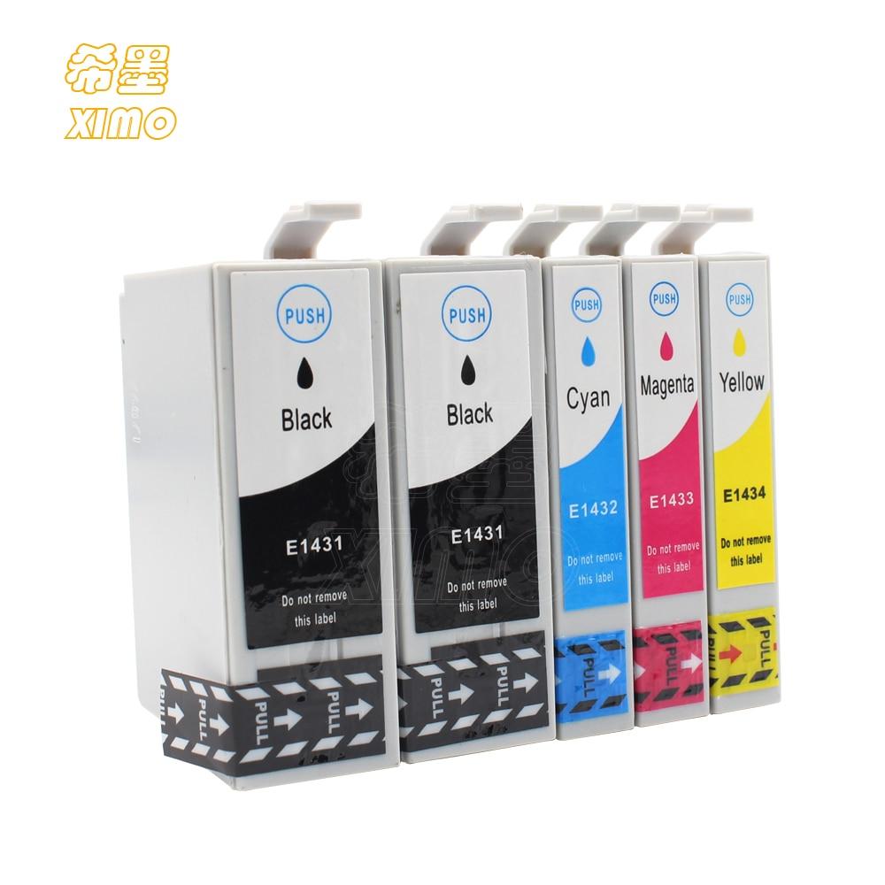 XIMO 5 uds cartucho de tinta T1431 T1432 T1433 T1434 para Epson ME Oficina 960FWD 900WD 940FW 85ND WF-7018 impresora
