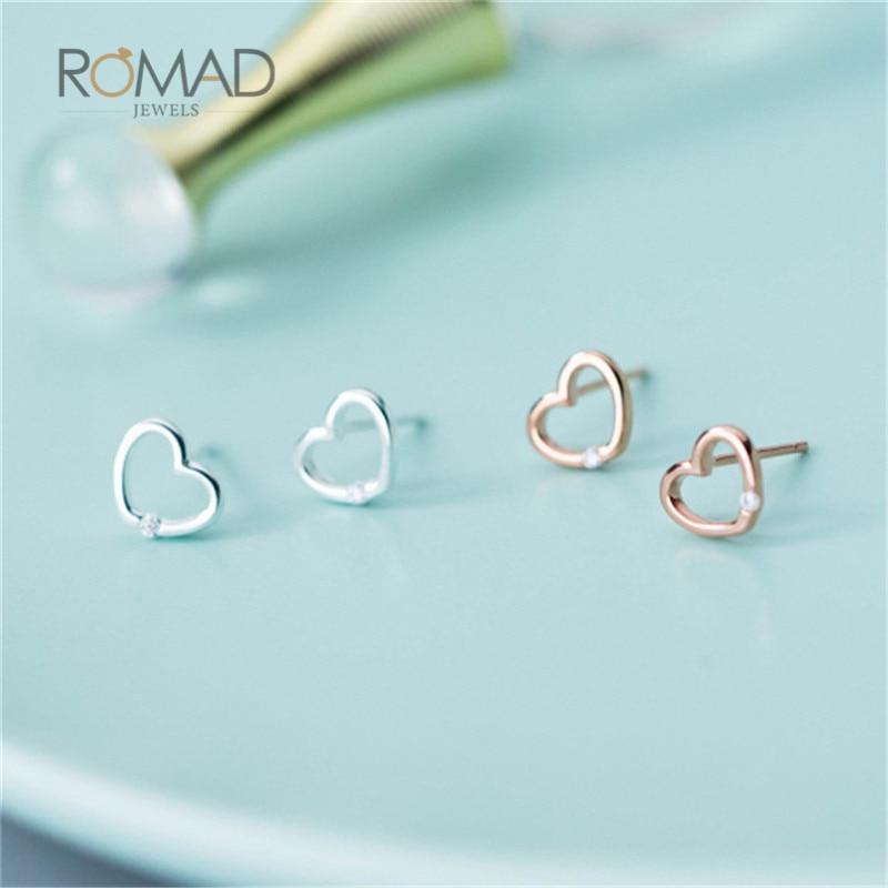 Romad 925 Sterling Silver Earrings Rose Gold Crystal Hollow Heart Stud Earrings For Women Girls Gift