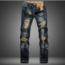 Foro Metrosexual Dritto Distrutto Jeans di Marca Sottile casual Strappato Jeans Homme Retrò degli uomini di Pantaloni In Denim di Cotone di Alta Qualità