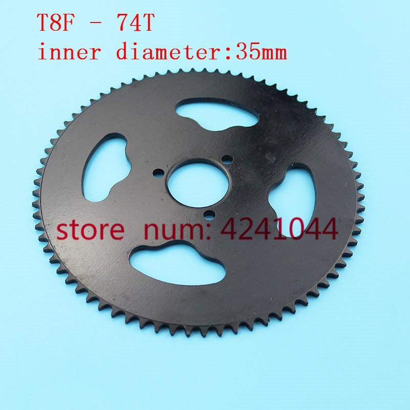 Envío gratuito T8F 74 T diente 35mm de acero negro trasero piñón de cadena Mini Moto Quad ATV suciedad Pit bicicleta de bolsillo Cruz 47cc 49cc partes