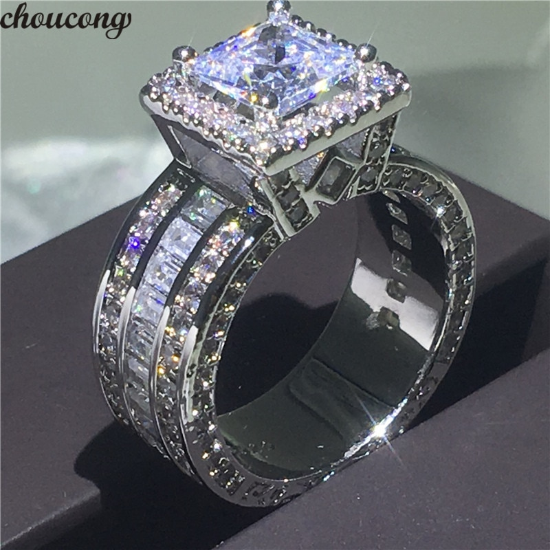 choucong Vintage Court Ring 925 sterling Silver Princess cut AAAAA cz stone Engagement Wedding band Rings For Women Jewelry Gift