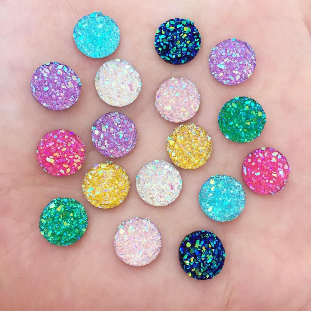Resina AB 10mm cuentas redondas de cabujón de mineral de diamantes de imitación con parte posterior plana 100 Uds apliques DIY boda medias cuentas adornos artesanales PW64