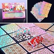 48 wzorów/paczka kwadratowy pusty francuski styl szablon paznokci naklejki nieregularne siatki wzornik 3D kreatywny paznokci artystyczny design