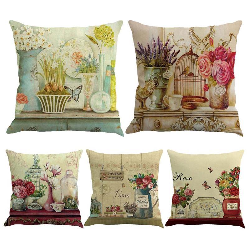 Retro Design Pillow Covers Bird Rose Flower Print Cushion Cover Decorative Pillowcase Home Sofa Seat Decoration Pillows