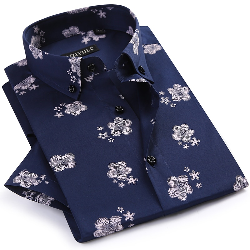 GREVOL New Summer Mens Cotton Short Sleeve Floral Print Shirts Male Fashion Cotton Casual Floral Shirts Mens Turn-down Clothing