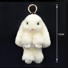 Cute Mini Natural Rabbit Fur Pom Pom Key Chain Women Trinket Bunny Toy Doll Bag Car Key Ring Monster Keychain Party Jewelry Gift