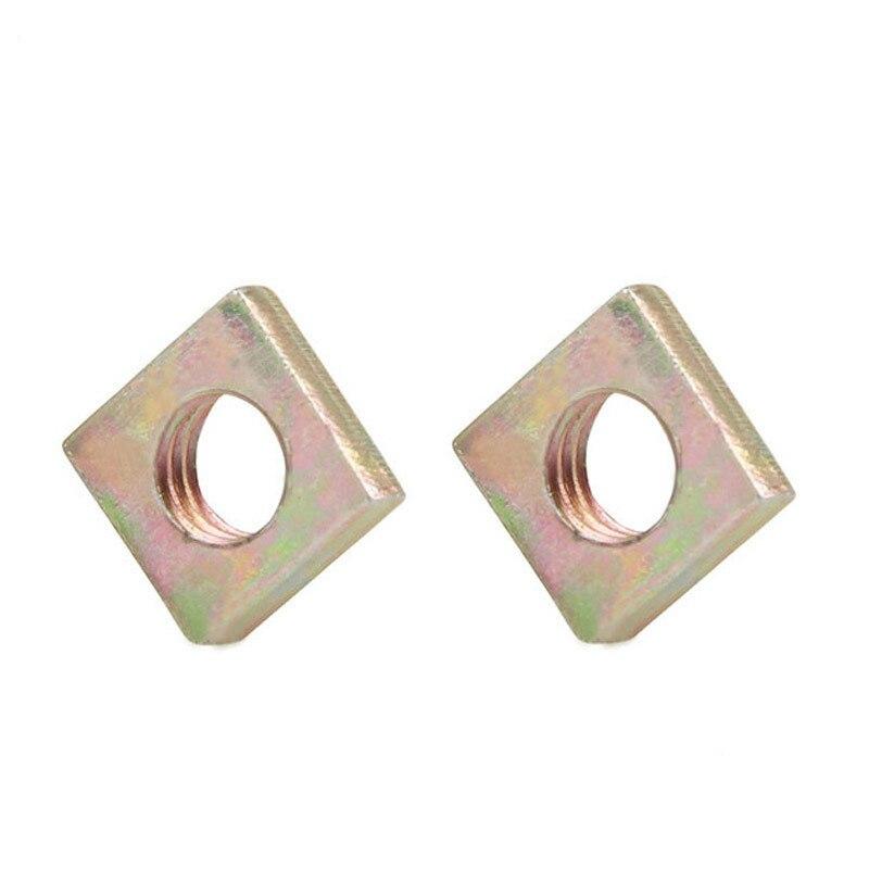 50 Uds DIN562 M3 M4 M5 M6 Color Zinc plateado tuercas cuadradas sin bisel cuadrado quadriangle galvanizado tuercas prensadas