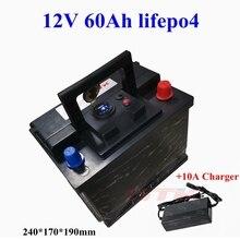 12 v 60ah lifepo4 بطارية حزمة العاكس دفعة بطارية نقالة ل سيارة ebike دراجة نارية UPS الرصاص حمض البطارية + 10A شاحن