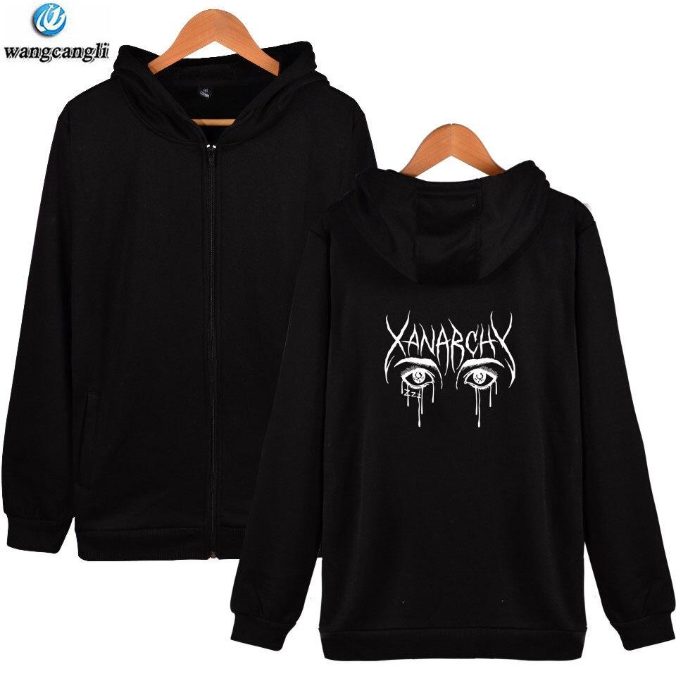 Sudaderas con capucha Lil xan Xanarchy otoño Hip Hop para hombre con cremallera Harajuku moda sudadera ropa informal de moda chaqueta abrigo
