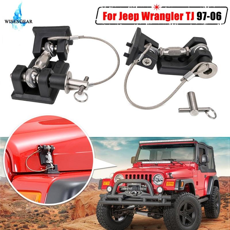 Для Jeep Wrangler TJ крышка двигателя защелка Анти-Вор замок кронштейн держатель Крышка Автомобиля внешняя капот боковые защелки замок 1997-2006