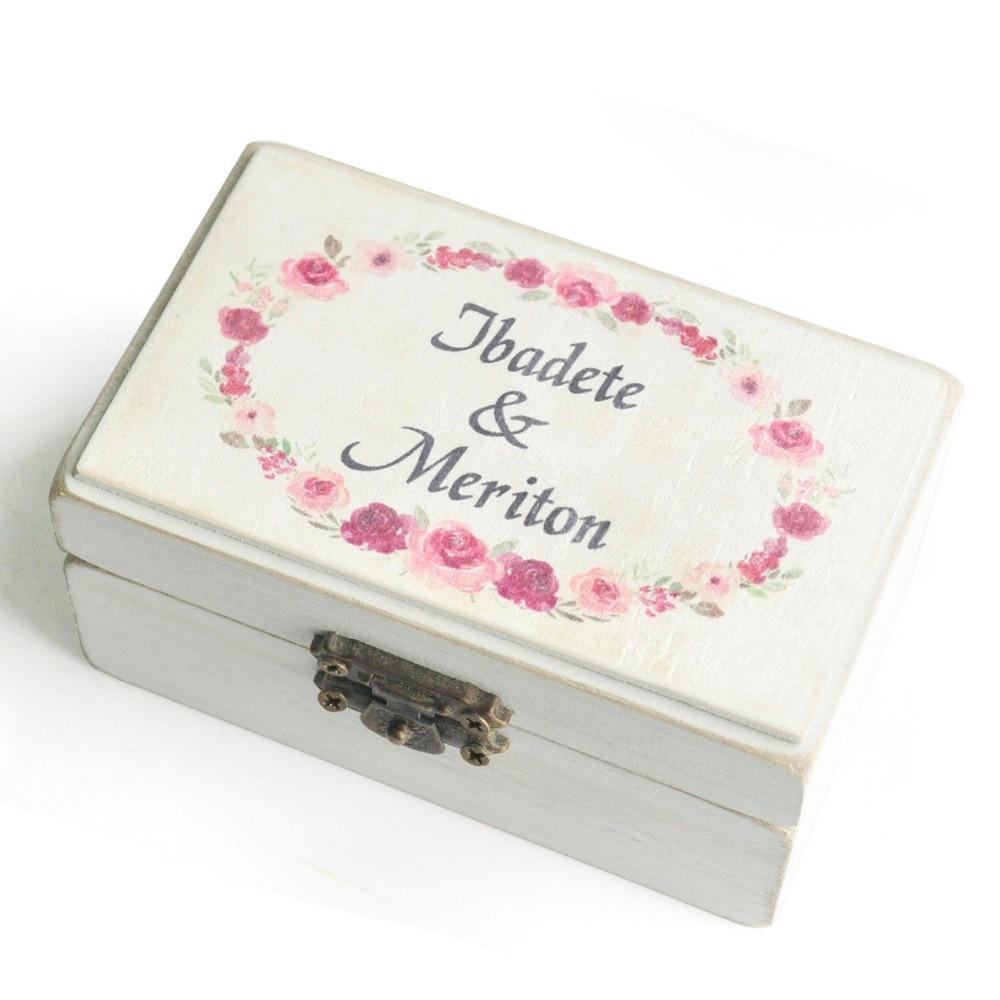 Custom Weding Ring Holder,Personalized Wedding Ring Box,Rustic Watercolor Wreath Box,Wedding Wreath Ring bearer box,Jewelry box