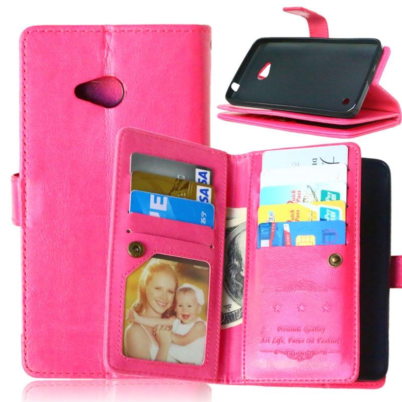 Coque Fundas 9 portatarjetas para Nokia Lumia 640 Funda de cuero PU Flip Stand cartera con marco de fotos bolsas de teléfono para Nokia 640