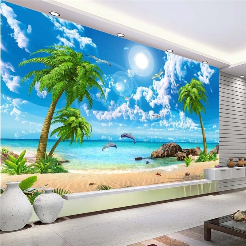 Фотообои с красивым видом на море, кастомизированные обои с изображением кокосового песка, пляжа, ТВ-фона, любой размер