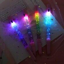 0.35mm arc-en-ciel créatif couleur Gel stylo fée bâton Gel stylos dérive sable lampe à LED paillettes cristal stylo pour fille cadeau papeterie