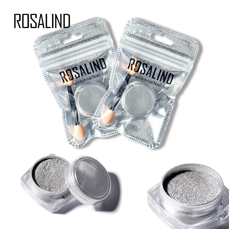 ROSALIND 1PCS Silver Nail Gel Polish Chrome Pigment Decoration Nail Glitter Aluminum Flakes Magic Mirror Effect Powders Sequins