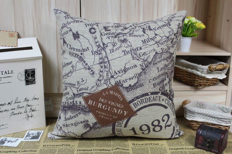 1982 letter British pillow cover,world map cushion cover,Linen pillowcase,sofa cushions home decorative Pillows