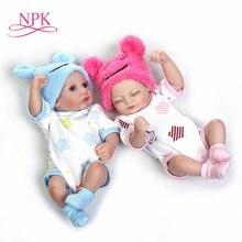 NPK 11 ''Mini Reborn Babys Mädchen boy Full Silikon Vinyl Nette twins bebe Puppen Lebensechte Bebes Reborns Für Kleinkind baden puppe