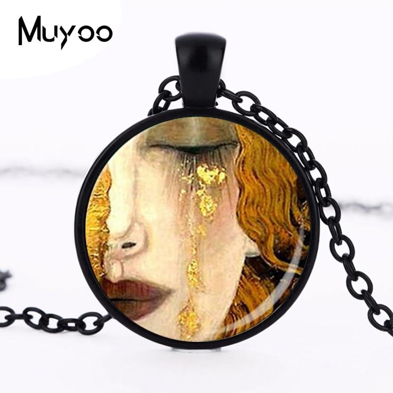Drop shipping Wholesale Glass Dome Wholesale  klimt necklace art pendant klimt jewelry pendant Man Fashion black women gift HZ1