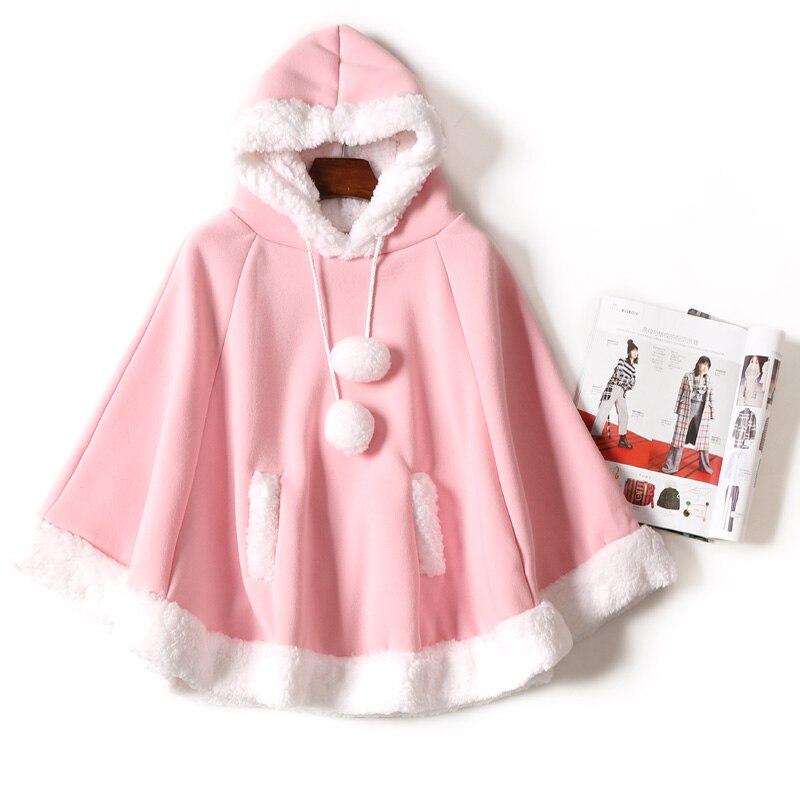 Primavera nueva capa Kawaii japonesa de manga de murciélago de las muchachas lindas capucha Harajuku capa de lana fresca Hoodies chicas estudiantes