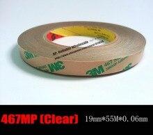 (0,06mm/2,3 mils grosor) 19mm * 55M 3M 467MP cinta adhesiva de dos lados transparente para PCB suave, interruptor de dispositivo eléctrico, etiqueta del panel Bond