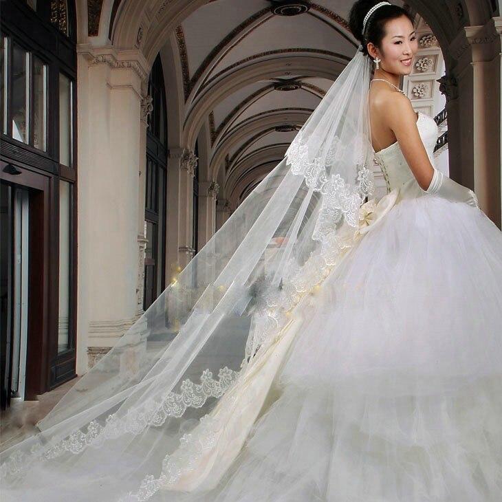 Женская Вуаль с гребнем, длинная, 3 м, кружевная кромка, вуаль для свадьбы, 1 слой, аксессуары для вечеринок, 2020