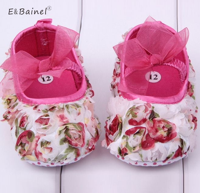 New Cute Baby Girls Shoes Lace First Walkers Princess Rose Flowers Baby Shoes