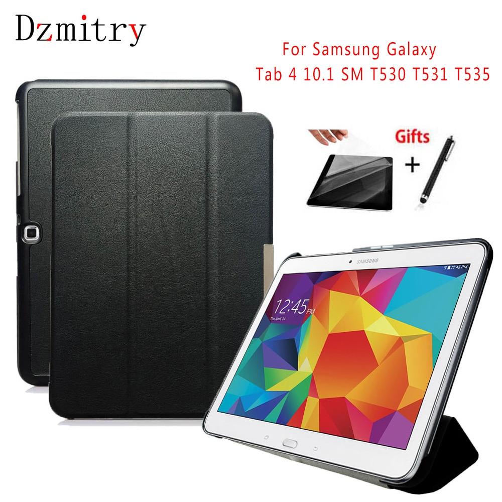 Чехол-подставка из искусственной кожи для Samsung Galaxy Tab 4 10,1 SM T530 T531 T535 tablet Auto Wake/Sleep Case + Защитная пленка + стилус