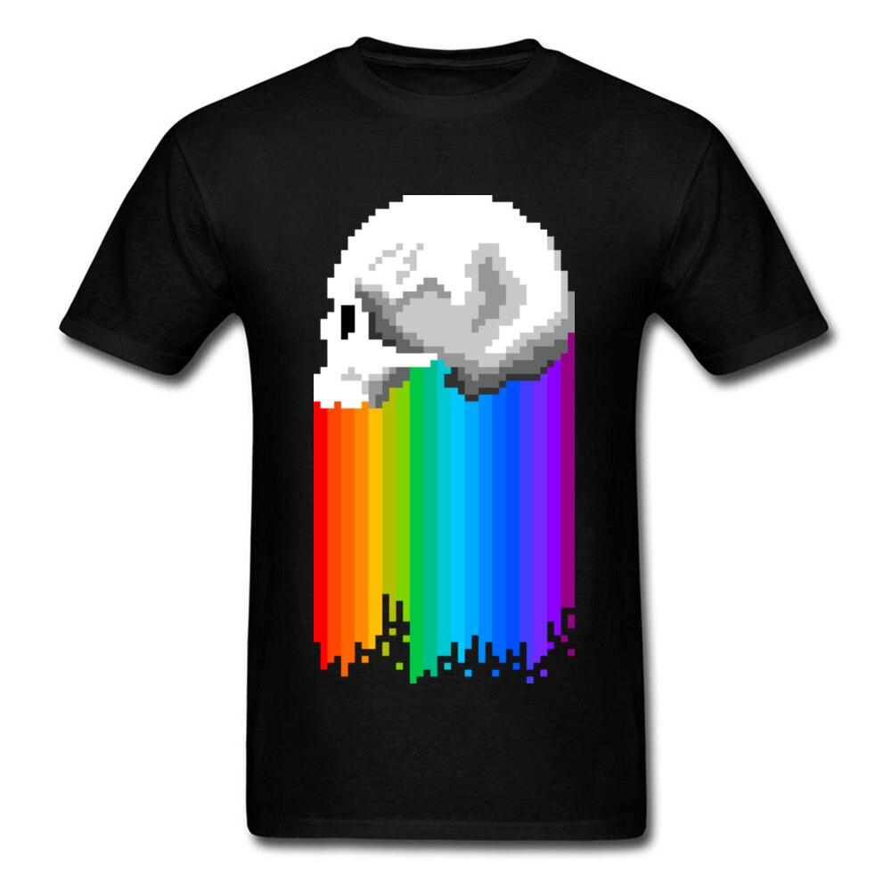 Camiseta colorida con diseño de lluvia de arcoíris para hombres, camiseta con diseño de calavera 3D de píxel, nueva camiseta de hombre lisa de estilo Rockabilly, manga de Estados Unidos, parte de arriba ropa informal de verano