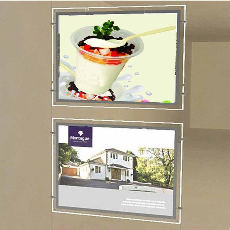 (2 блока/колонки) A3, односторонняя настенная и потолочная подвесная рамка с подсветкой для окна и постеров, светодиодные световые карманы дл...