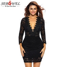 Sebohel-robe fourreau en dentelle noire, Mini-robe fourreau en dentelle florale, décolleté plongeant en v, Sexy, manches longues, moulante, tenue femme
