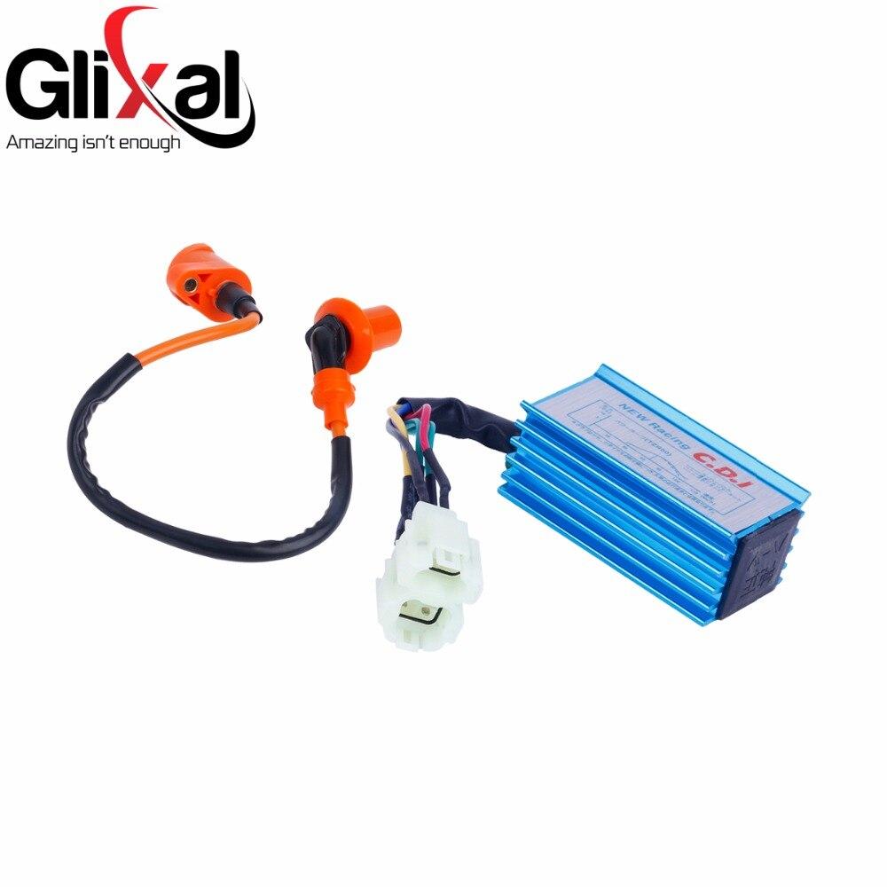 Glixal 高性能 6 ピン ac レーシング Cdi ボックス + イグニッションコイル GY6 50cc 125cc 150cc 139QMB 152QMI 157QMJ スクーター原付 ATV
