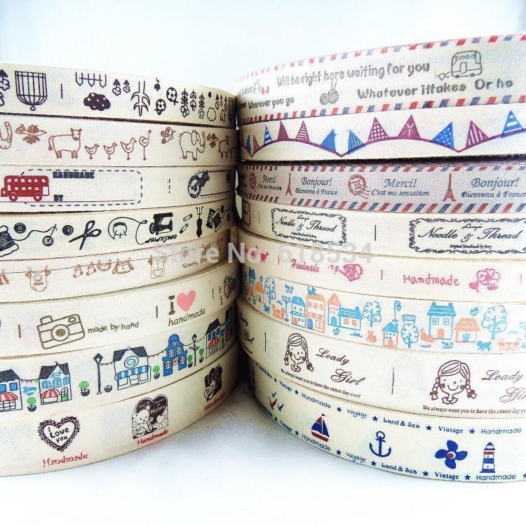 Mixed 16 Models Wholesale15mm 20mm 25mm Mixed Printed Cotton Ribbon Fabric Sewing Tape DIY ZAKKA Handmade Label  16 yards Y-140