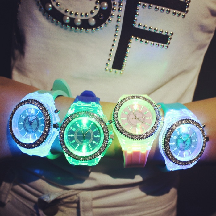 2019 Fashion Tide LED Light wristwatch Female Form Student Casual Sports Personality Jelly Luminous