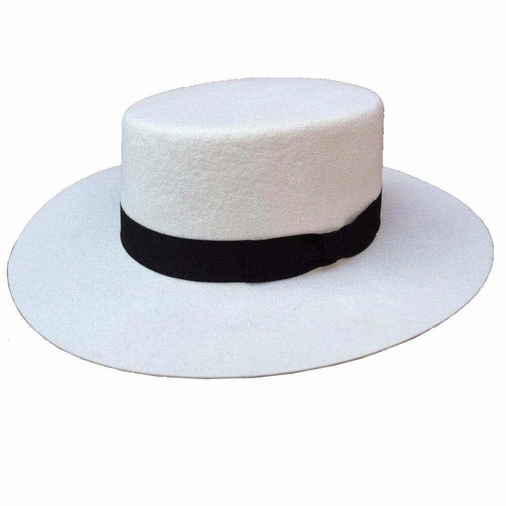 White Panama Wool Boater Porkpie Flat Top Crown Fedora Hat For Women