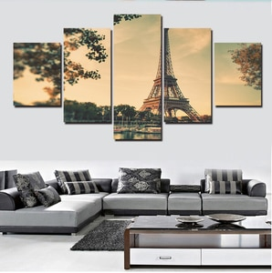 Unframed 5panels The Eiffel Tower Panel Hd Modern Oil Painting Home Decoration Canvas Wall Art Hanging Picture