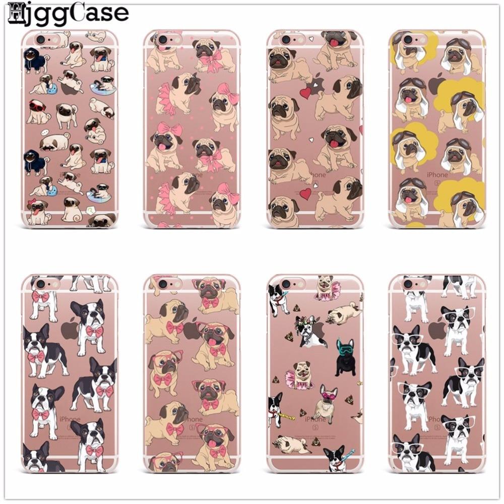 Cute Puppy Pug Bunny Cat Princess Meow French Bulldog Soft Phone Case Coque Funda For iPhone X 5 5S SE 7 7Plus 8 8plus 6 6S Plus