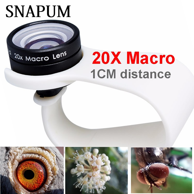 SNAPUM mobile phone Macro Lens 20X Super Cellphone Macro Lenses for Huawei xiaomi iphone 6 7 8 10 Sa