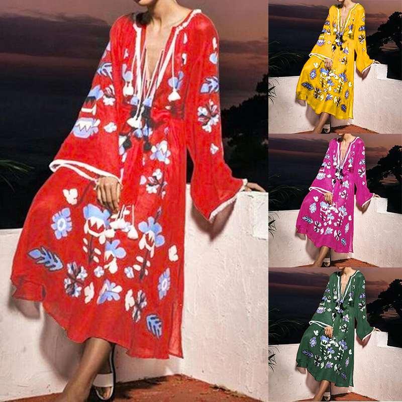 VONDA Bohemian Printed Maxi Dress 2020 Sexy V Neck Long Sleeve Robe Femme Party Vestidos Beach Sundress Plus Size S-5XL