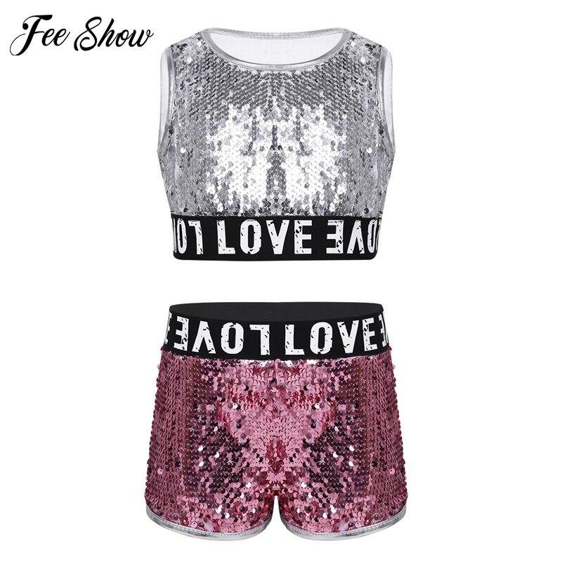 Niños Niñas lentejuelas baile Rosa plata Top corto sin mangas con pantalones cortos 2 uds conjuntos Hip-hop Jazz Ropa de baile niños conjuntos