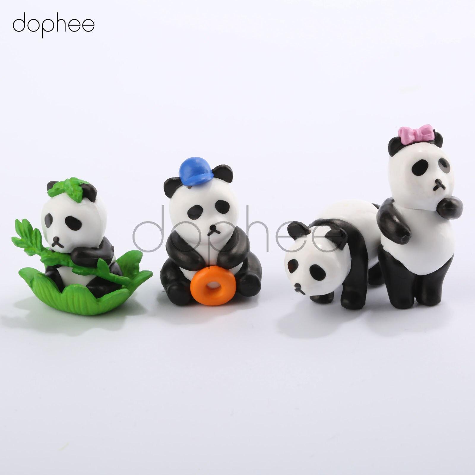 dophee 1pc Mini Cartoon Panda Figurine Resin Craft Miniature Garden Decor Resin cabochons terrarium accessories artesanato resin